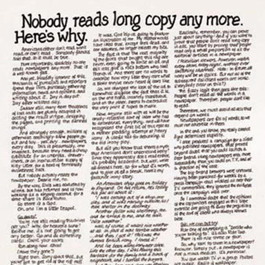 Nobody Reads Long Copy Anymore