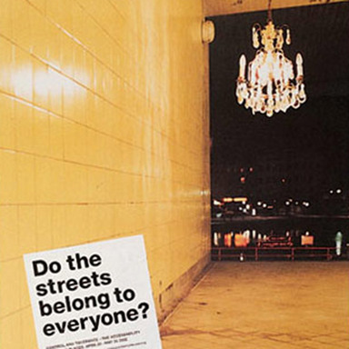 Do the streets belong to everyone?: Rug, Chandellier, Public Sofa