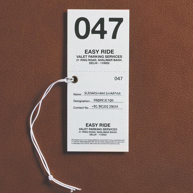 Valet Parking stub
