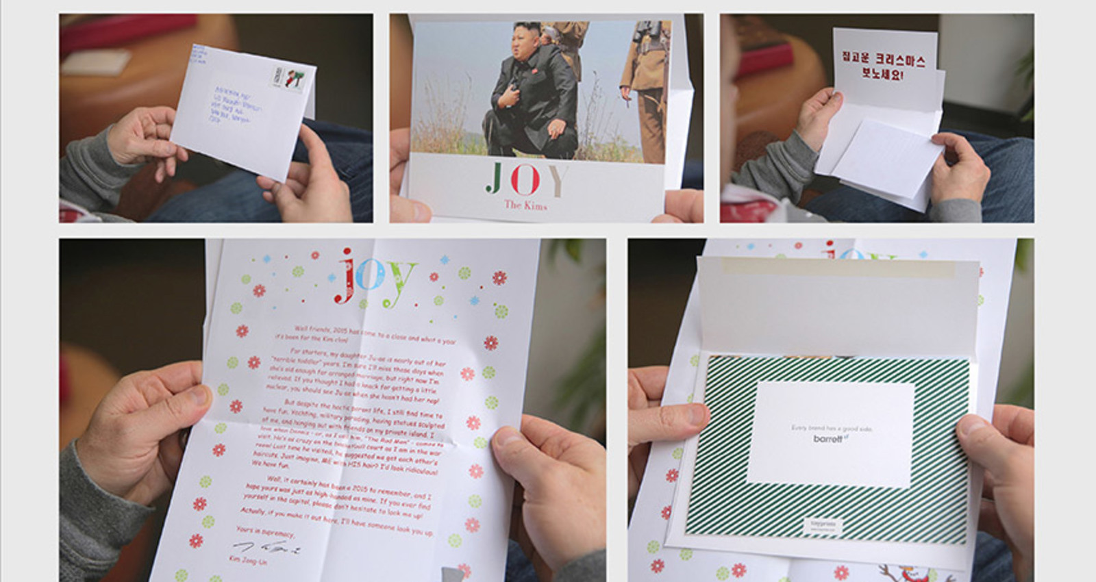 Holiday Cards ?The Kims?, ?The Guzmans?, ?The Putins?