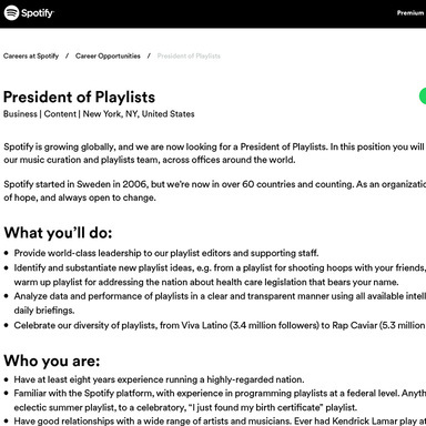 President of Playlists
