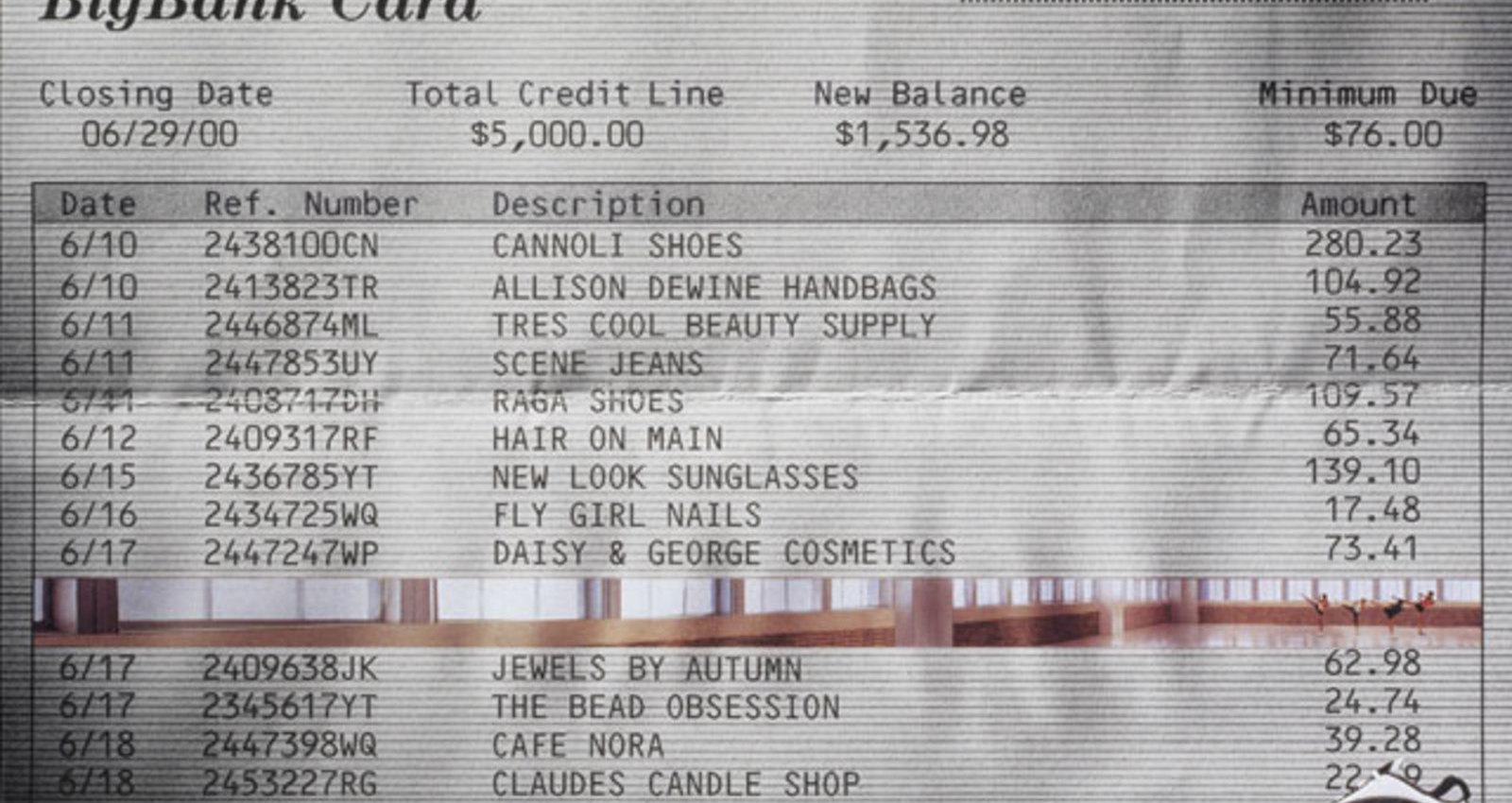 TV Guide, Timesheet, Bar tab, Email, Credit Card Bill