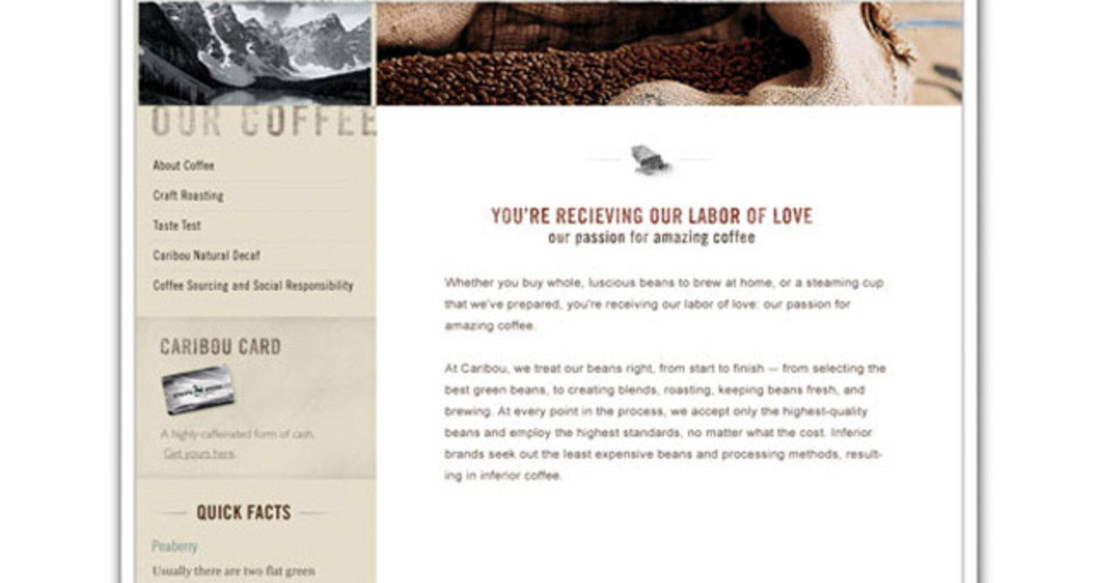 Caribou Coffee Web Site